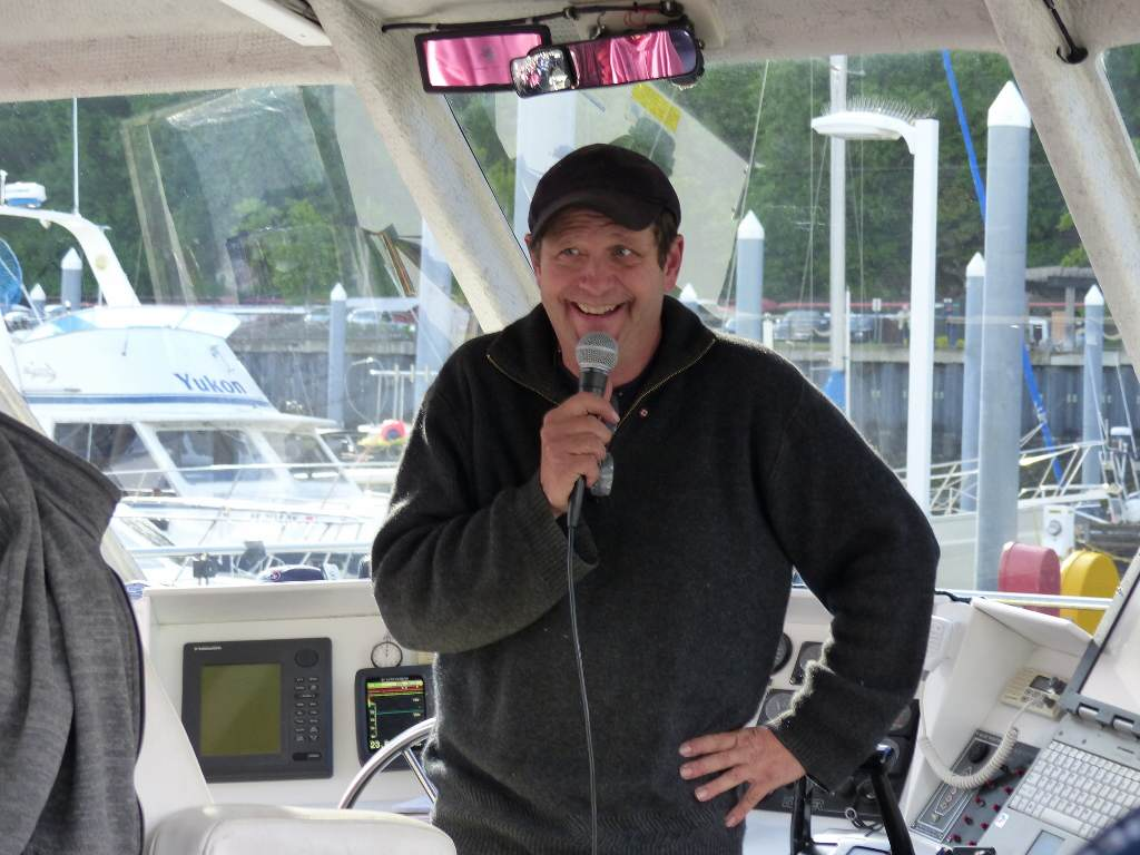 Captain Glen addresses the passengers on the Fjord Express to Juneau